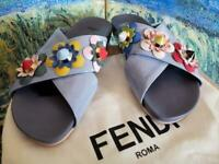 FENDI FLOWERLAND Multicolor Patent Leather Sandal & 1 FENDI Shoe Bag Size 39 EUC