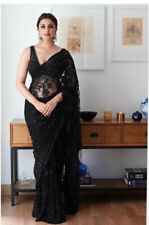 Black Saree Net Saree Full Embroidered Party and Wedding For Ethnic Saree