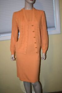 Pretty St John  Tangerine Santana Knit Dress & Jacket Suit sz 12 ~ L
