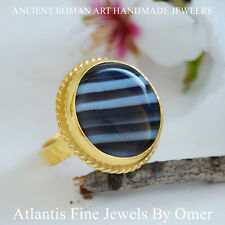BROWN AGATE RING 24K  GOLD OVER 925 STERLING SILVER BY OMER TURKISH FINE JEWELRY
