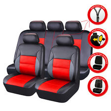 CARPASS PU Leather Auto car Seat Covers Full Synthetic Set 2Front &1Bench red