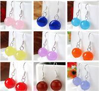 10 Colors 12mm Jewelry Multicolor Jade & Silver Hook Dangle Earrings