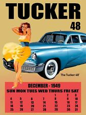 1948 Tucker with Brunette Pinup 1949 Calendar Retro Classic Metal Sign