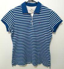 Nautica Womens Shirt Size XL Short Sleeve Polo Blue White Striped Collared EUC