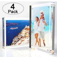 """Clear Acrylic Double-Sided Landscape/Portrait Magnetic Block Frame 5""""x7″ 4-Pack"""