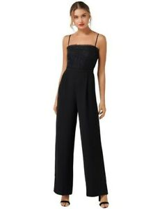 Forever New Black Lace Spagetti Strap Wide Leg Jumpsuit
