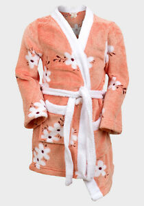 GIRLS FLEECE FLORAL CORAL DRESSING GOWN ROBE SIZE 3-9 YEARS