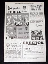 1932 Old Magazine Print Ad, A.C. Gilbert, Erector, The World'S Champion Toy Set!