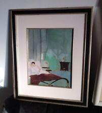 Vintage Antique 1930's Art Deco Style Frame w/ Glass La Femme Chez Elle Sommeil