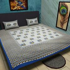 traditional mafia Ethnic Collection Pure Cotton Printed Bedsheet + 2 KING BLUE