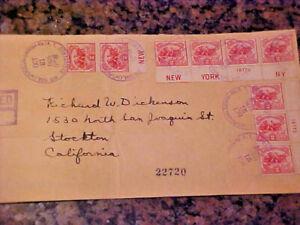 9 US Cancelled Stamps on Registered Letter #629 1926 2c Battle of White Plains.