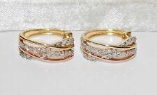9ct Yellow & Rose Gold 0.25ct Diamond Cuff / Huggie Stud Earrings - Gift Boxed