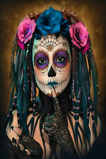 STUNNING Mexican Sugar Skull Girl Canvas Picture #24 Wall Hanging Pop Art A1