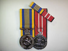 Set of 2 ADF Replica Court Mounted Defence Long Service Medals ADM + Ribbon Bar