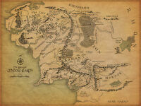 Framed Vintage Print - Middle Earth Map (Picture Poster Lord of the Rings Art)