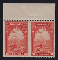 Canada Sc #E3b (1927) 20c Special Delivery IMPERF BETWEEN Pair Mint VF NH