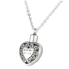 "Cremation Jewellery Stainless Steel ""With Me Always"" Heart Urn Pendant Neck M6Y8"