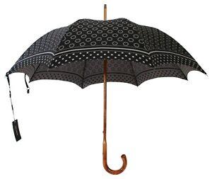 DOLCE & GABBANA Umbrella Black Patterned Dome Shape Hook Handle 90cm RRP $900