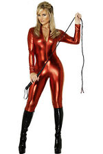 Sexy Red Lady Leather Catsuit