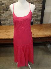 Ralph Lauren Dress Maxi Summer Pink Hibiscus Embroidered Cotton Size 6 NWT $125