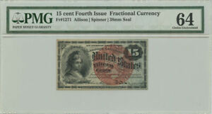 15 Cent Fourth Issue Fractional Currency PMG Choice UNC 64 Fr #1271