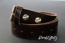 DARK BROWN REAL LEATHER BELT 38mm SNAP ON  WITHOUT BUCKLE REPLACEMENT BELT