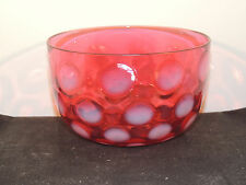 Fenton Cranberry Coin Dot Bowl over 4 inches wide (9093)