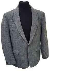 Men's Harris Tweed Jacket Blazer 42 Regular Pure Scottish Wool Leather Buttons