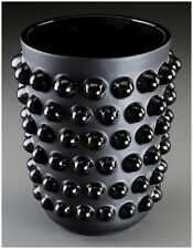 Lalique Studio France Signed Black Glass Mossi Vase Signed Crystal Antique Art