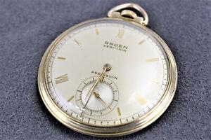 Vintage Gruen Precision Veri-Thin Conoruma, 17j, 10K GF Swiss made Pocket Watch.