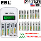 EBL 800/1100/2300/2800mAh AA AAA NI-MH Rechargeable Batteries + LCD Charger Lot