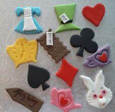 Alice In Wonderland Handmade Fondant Cupcake Toppers x 12 Edible Tea Party