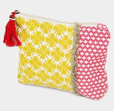 NEW BOHO PATTERN RED AND YELLOW FABRIC MAKEUP TASSEL CLUTCH BAG