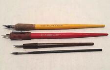 4 Vintage Dip Pens Faber 470,Wallace 183,Hunt Hawk Quill 107,Resterbrock Nibs
