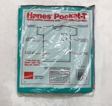 New In Package! Vtg 80's 1988 Hanes Blue Green Pocket T Sz. Large Tee Shirt