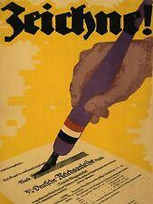 Guerra di propaganda WWI Germania BOND certificato segno di penna Arte Poster Stampa lv7220