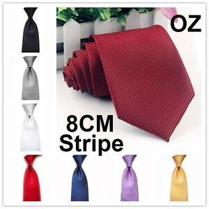 Mens 8CM Stripe Business silk TIES Plain Wedding Necktie Formal Casual Solid