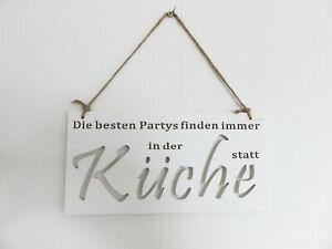 Schild Die besten Partys finden immer in der Küche statt Holz weiß 30x15cm