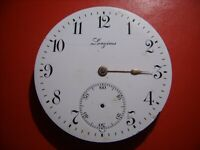 LONGINES POCKET WATCH MOVEMENT AND ENAMEL DIAL, CAL 18.90, TO REPAIR OR PARTS