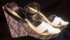 Sam & libby leather shoes sandals wedge strappy beige cream  green black 9 NWOT