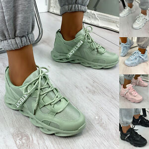 New Womens Chunky Panelled Lace Up Trainers Ladies Shoes Sizes 3-8