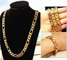 """10MM Real 18k Gold filled Men's Figaro Bracelet + necklace 23.6"""" Chain Set Gift"""
