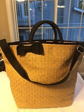 BATH & BODY WORKS 2012 SPRING VIP TOTE TAN STRAW TOTE BAG NWT