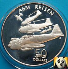 1991 Islas Marshall $50 dólares de plata de la segunda guerra mundial A6M relajado aviones moneda de prueba