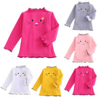 Todder Kids Baby Girls Winter Cartoon Cotton Warm Tops Ruffles T Shirt Sweater