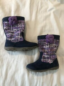 Toddler Stride Rite Girls Leather Boots 7.5 Purple Navy Blue