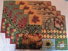 4 New Fall Autumn Leafs Tapestry Placemats Thanksgiving Pumpkins Sunflower Clock