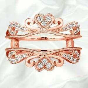 Diamond Wedding Enhancer Guard Wrap Band Engagement Ring in 10K Rose Gold Over