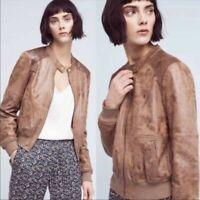 Anthropologie Hei Hei Rockaway Bomber Jacket Size S Brown Tan Faux Suede Women's