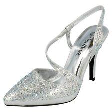 Ladies Anne Michelle Glitter Diamante Stiletto HEELS Court Shoes F9812 Silver UK 6